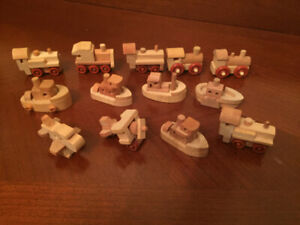 KINDER SURPRISE WOODEN MINIATURES (13)- BOATS, TRAINS,AIRPLANES