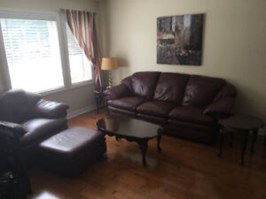 Complete Living Room Set: sofa, chair, ottoman and tables