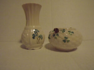 Belleek Shamrock Vase & Bowl