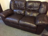 Luxury fultons brown full leather reclining sofa - mint condition