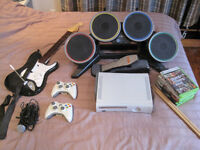 Xbox 360 with rockband set and more