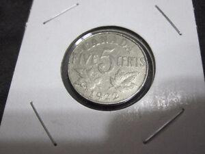 1922 Canada 5 Cents Nickel Coin--Near Rim