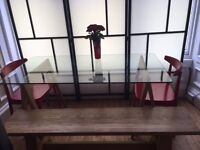 Glass dining table and oak bench for sale