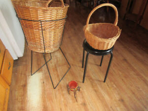 wrought iron and wicker planters