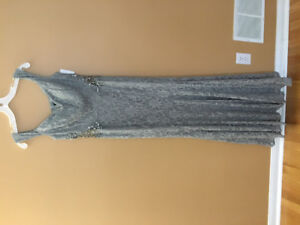 David's gown grey/silver lace with glitters off shoulder sz 12