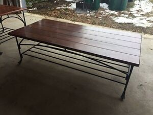 Rod iron coffee table and side table