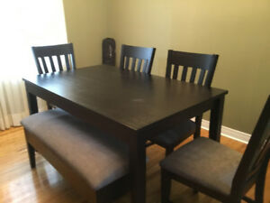 Dining Table, 4 chairs, bench