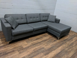 (Free Delivery) - Grey 'Jorge' Sectional Sofa