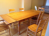 Honey Pine Harvest Table and chairs
