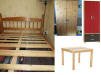 BED, MATTRESS, WARDROBES, TABLE, CHAIRS.....