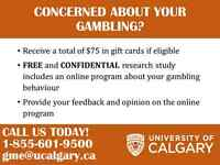 CONCERNED ABOUT YOUR GAMBLING? VOLUNTEERS WANTED!