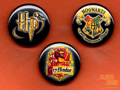 "Set of three 1"" Harry Potter Gryffindor pins buttons Hogwarts crest"