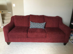 Red Lazy-boy Couch and Love seat