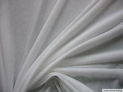1 Lfm Jersey 2,27€/m²  Feinrippe weiß 135cm breit  CJ3