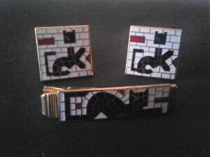 VINTAGE ANSON ABSTRACT CAT CUFF LINKS & TIE CLIP