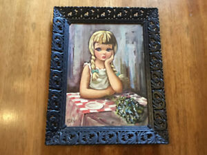 "Vintage big-eyed girl/moppet by Eden ""Pensive"""