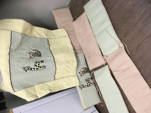 Crib bedding with bumpers and Laundry Hamper