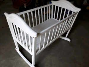 Beautiful Solid Maple Cradle with Mattress EUC