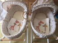 Mamas and Papas Moses Basket, ideal for twins.
