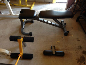 Weights, barbells, stands, smith, bench, lat, rower, ext