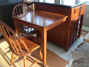 Dining/Kitchen Table Granite Top Butcher block/island and chairs