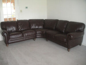 Classic Natuzzi Buffalo All Leather Sectional Couch, Delivery