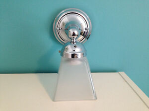 1 light Chrome Frosted Glass Wall Sconce