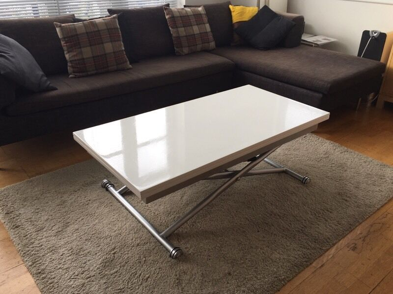 Dwell Rise Extending Coffee Table White