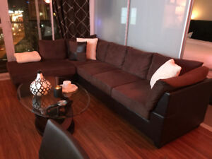 Brown Chocolate  Micro-suede Sectional Couch