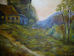 """Vintage Cabin on a Hill by G. Eastman """"Homestead"""" Oil Painting Stratford Kitchener Area image 3"""