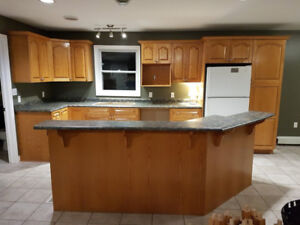 COMPLETE OAK KITCHEN CABINETS SET AND COUNTER TOP AND OAK RAILS
