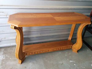 Solid Oak Curved Sofa Hallway/Entryway Table Stand