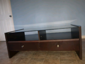 Tempered glass coffee table/TV stand