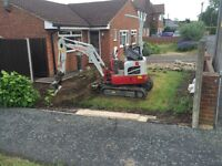 Micro digger and driver for hire pj diggers