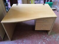 Solid Office Desk with Drawers (key to lock)