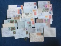 Old stamp collection on letters/envelopes