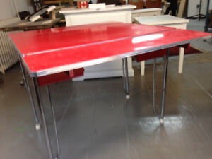Awesome Rare Red Porcelain Enamal 1930s Kitchen Table