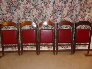 Set of 5 HOURD & Co. Ltd.London Can Wood Imperial Folding Chairs London Ontario image 1