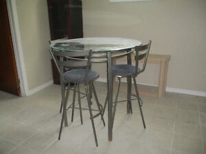 tall bar table with 3 stool chairs (metal) #7