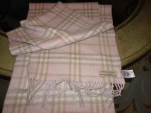 1b71eda66737 AUTHENTIC BURBERRY PINK CHECK CASHMERE FRINGE SCARF