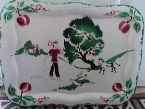 Beautiful Vintage Country Folk Art Tray-Reduced $30.00