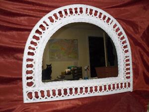 1/2 MOON Wicker Mirror