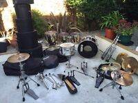 Vintage Remo Quadura Gold Five Piece Drum Kit with A lot of hardware and extras