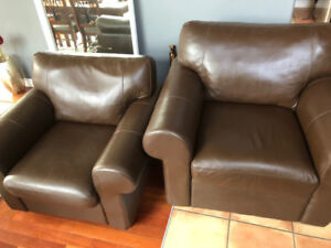 2 Brown Leather Sofa Chairs $200 each