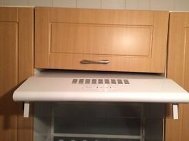 White electric cooker hood with light and fan