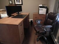 Office Desk and Filing Cabinet and Office Chair