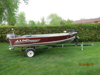 14 ft Lund Aluminum, 25 hp Yamaha and trailer