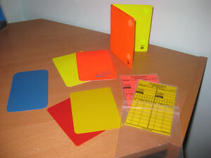 Soccer Referee Yellow, Red and Blue cards