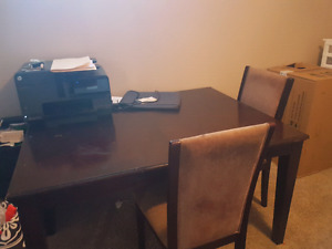 Cherrywood coffee table and 4 chairs
