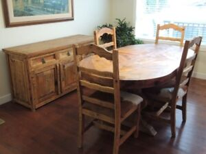 Mexican Pine furniture - dining table, chairs, sideboard